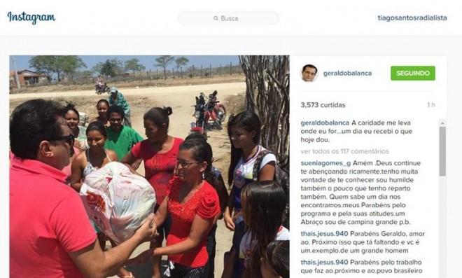 Por trás das câmeras: Geraldo Luis distribui cestas básicas para famílias carentes de Paulo Afonso