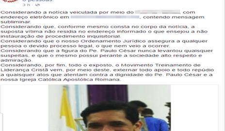 Grupo TLC emite nota sobre supostas acusações contra Padre Paulo César